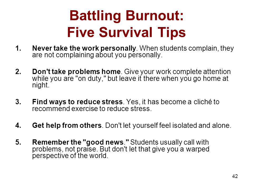 Battling Burnout: Five Survival Tips