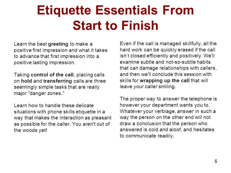 Etiquette Essentials From Start to Finish
