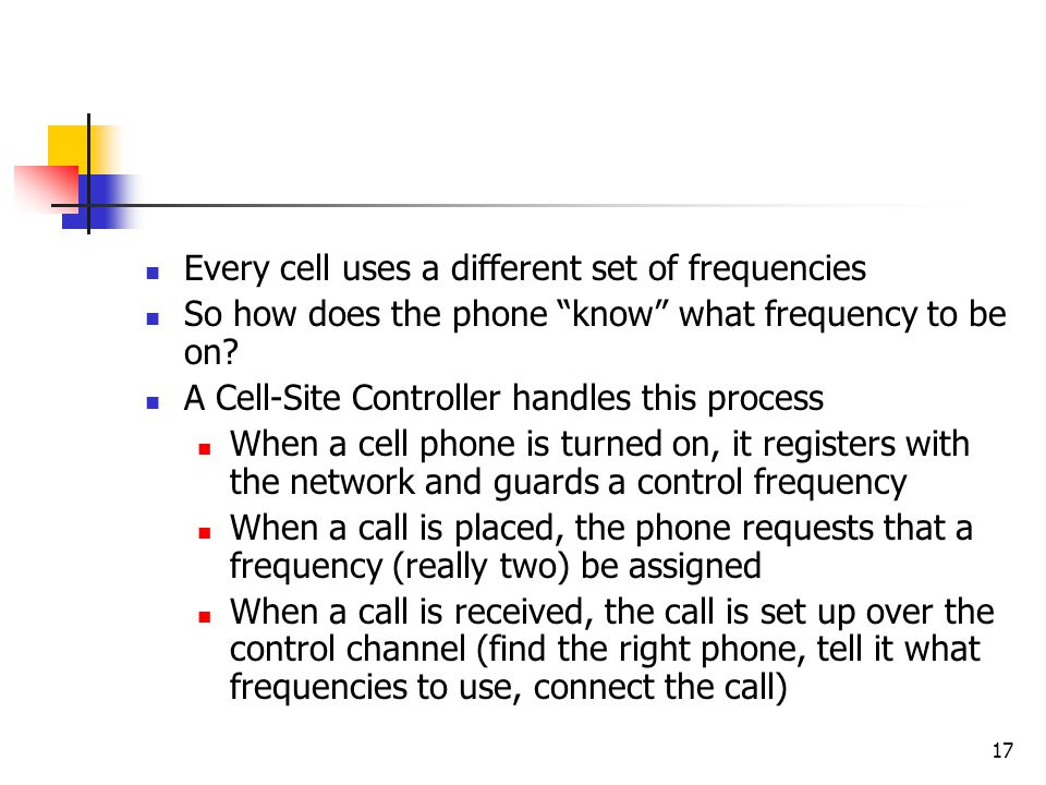 Every cell uses a different set of frequencies
