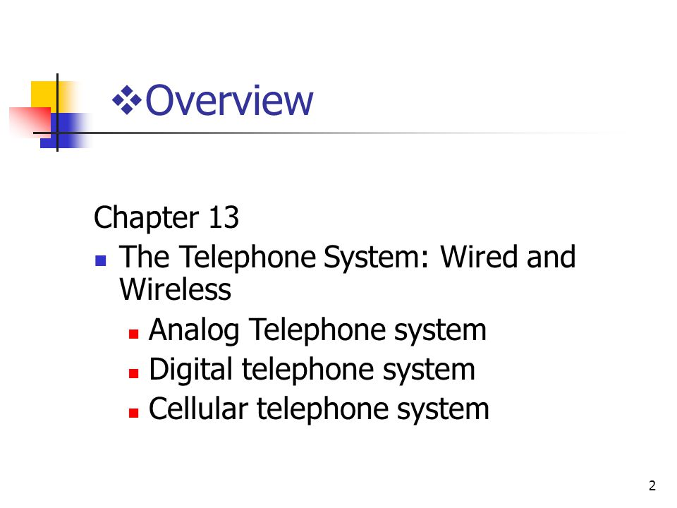 Overview Chapter 13 The Telephone System: Wired and Wireless