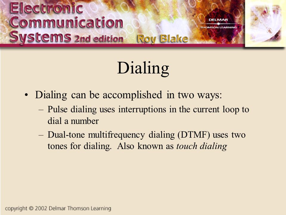 Dialing Dialing can be accomplished in two ways: