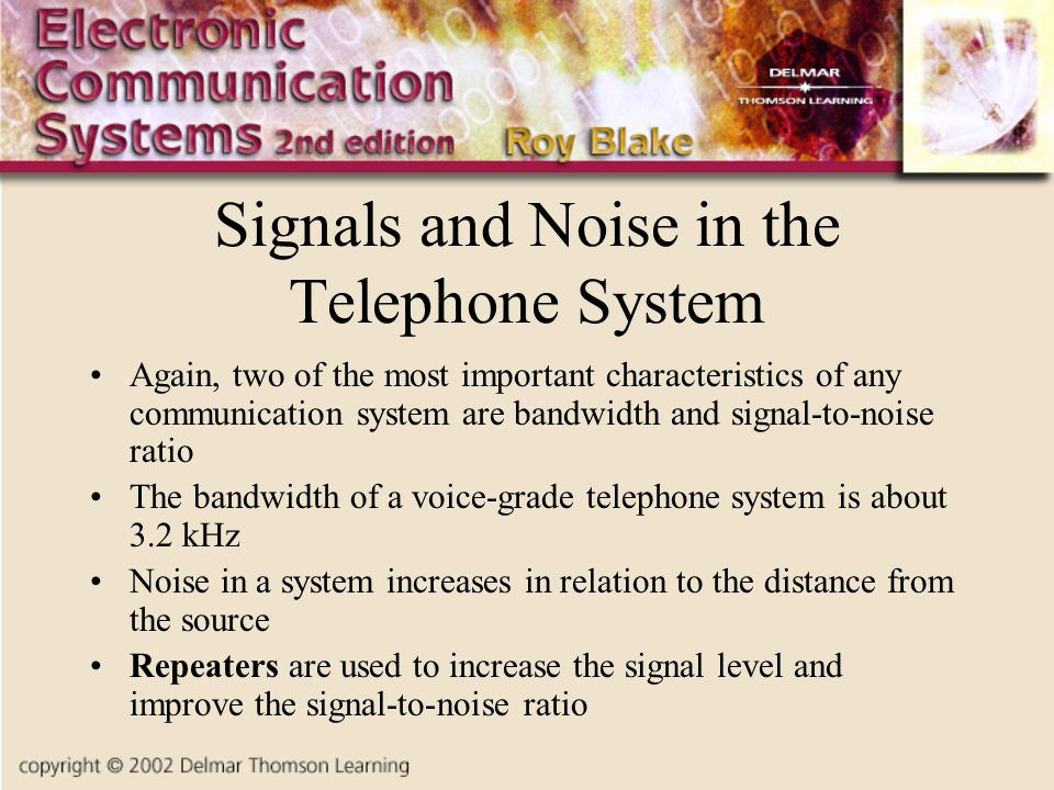 Signals and Noise in the Telephone System