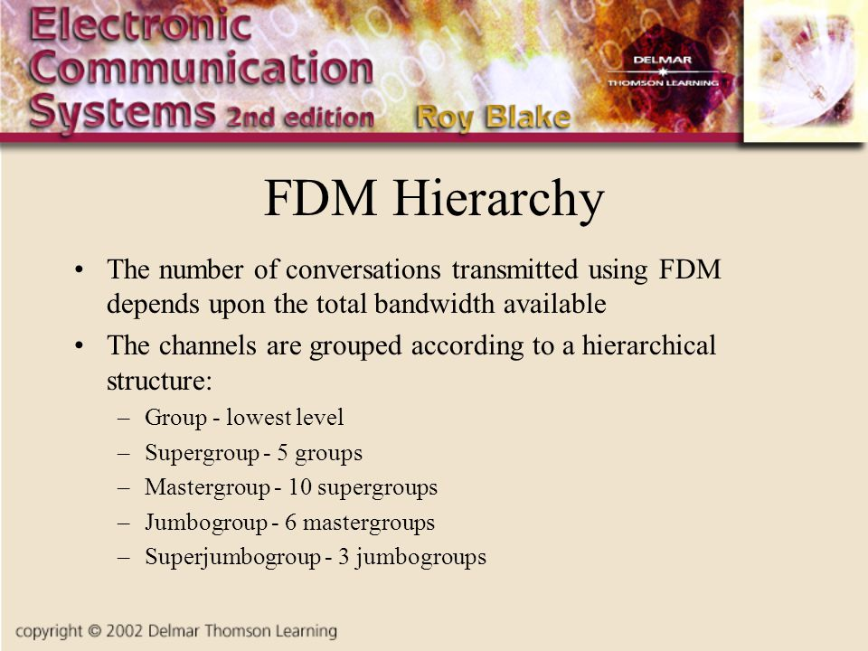 FDM Hierarchy The number of conversations transmitted using FDM depends upon the total bandwidth available.