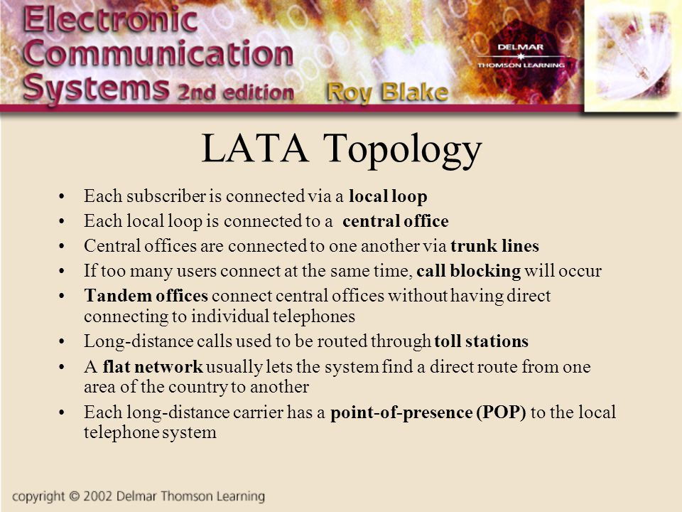 LATA Topology Each subscriber is connected via a local loop