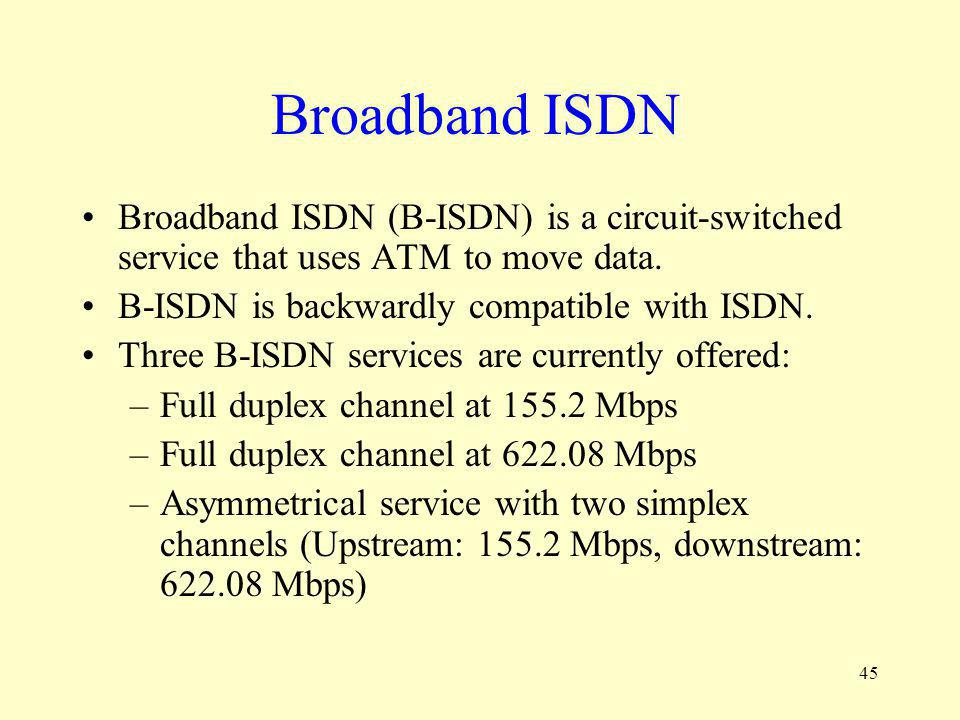 Broadband ISDN Broadband ISDN (B-ISDN) is a circuit-switched service that uses ATM to move data. B-ISDN is backwardly compatible with ISDN.