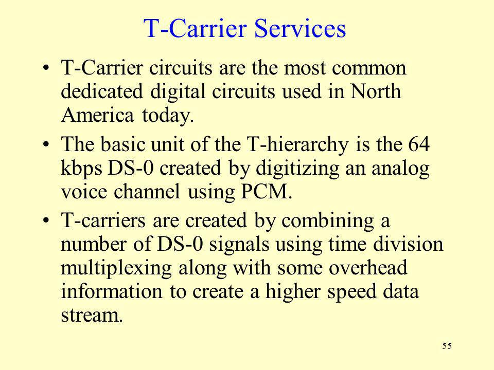 T-Carrier Services T-Carrier circuits are the most common dedicated digital circuits used in North America today.