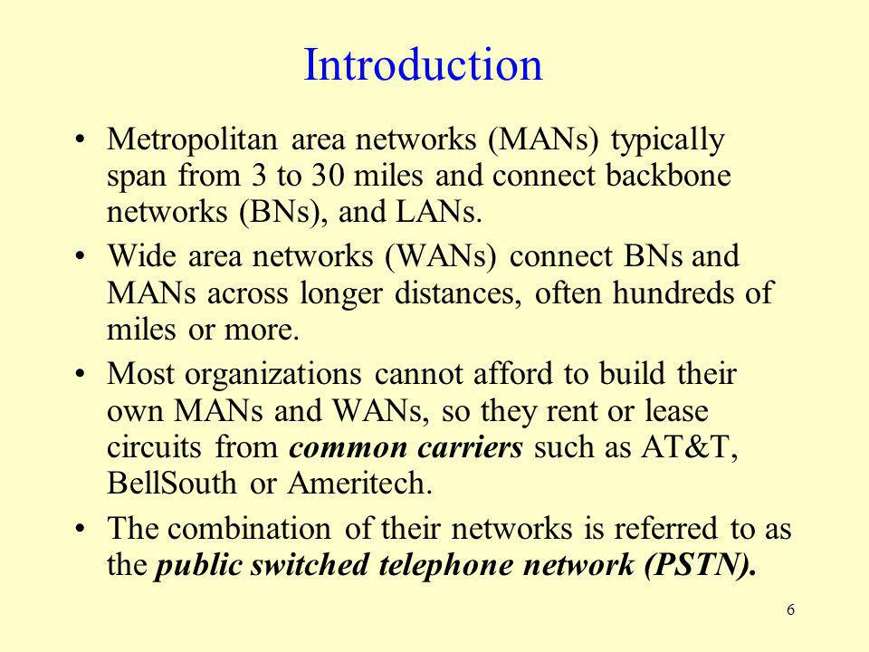 Introduction Metropolitan area networks (MANs) typically span from 3 to 30 miles and connect backbone networks (BNs), and LANs.