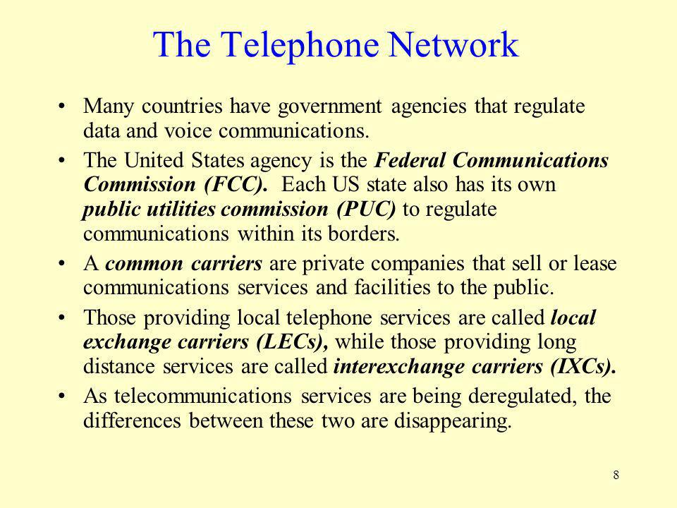 The Telephone Network Many countries have government agencies that regulate data and voice communications.