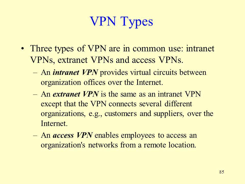 VPN Types Three types of VPN are in common use: intranet VPNs, extranet VPNs and access VPNs.
