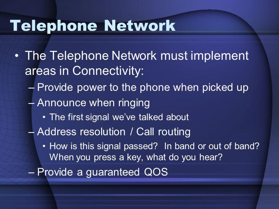 Telephone Network The Telephone Network must implement areas in Connectivity: Provide power to the phone when picked up.