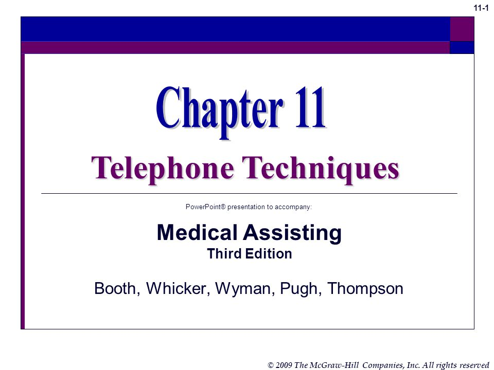 Telephone Techniques Chapter 11 Medical Assisting