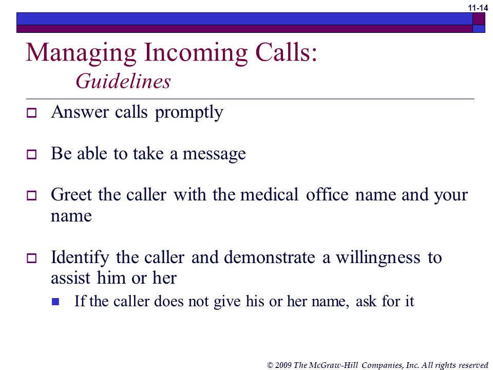 Managing Incoming Calls: Guidelines