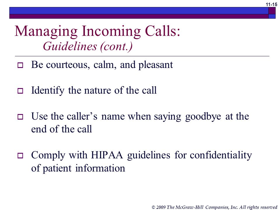 Managing Incoming Calls: Guidelines (cont.)