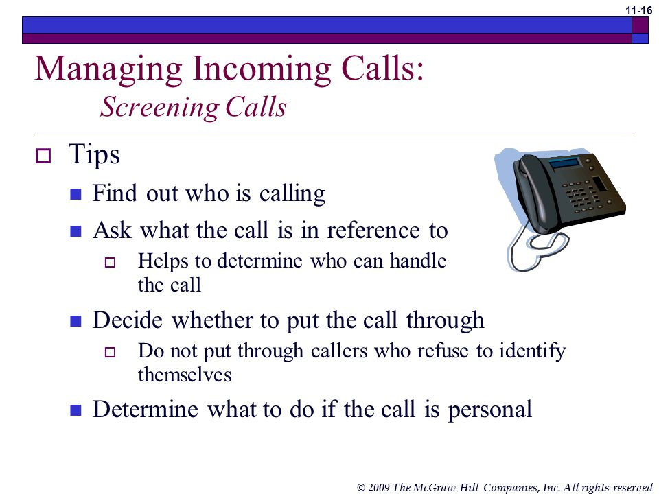 Managing Incoming Calls: Screening Calls