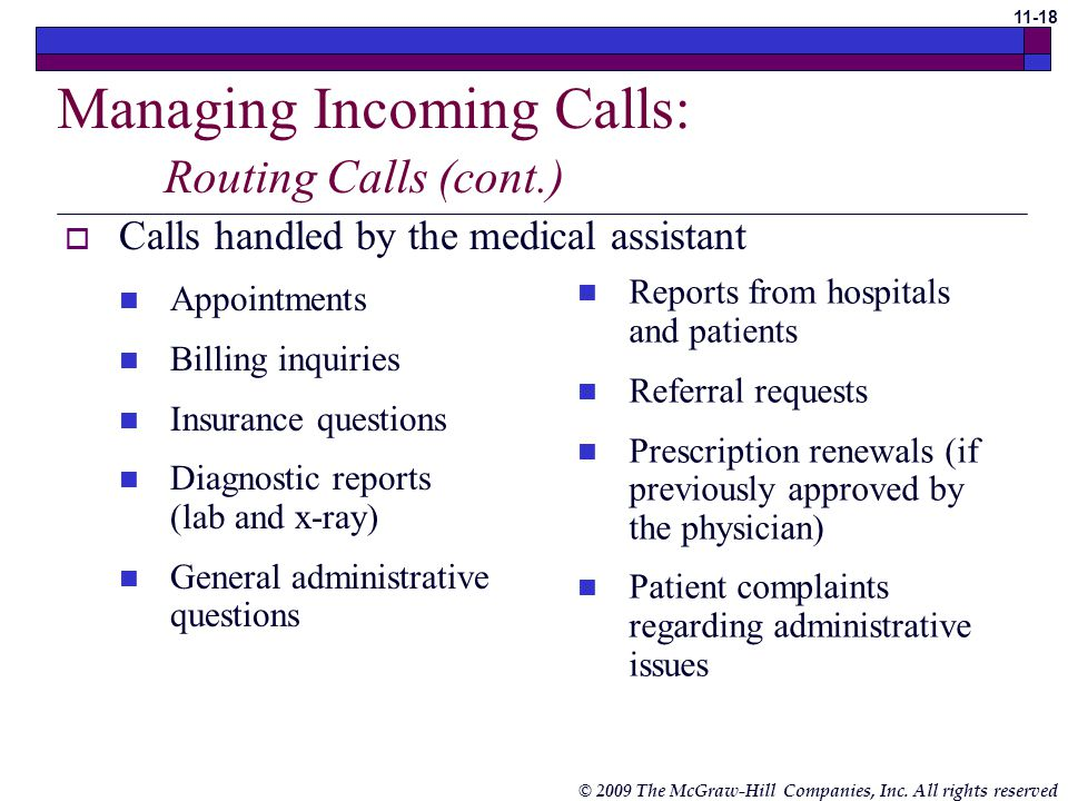 Managing Incoming Calls: Routing Calls (cont.)