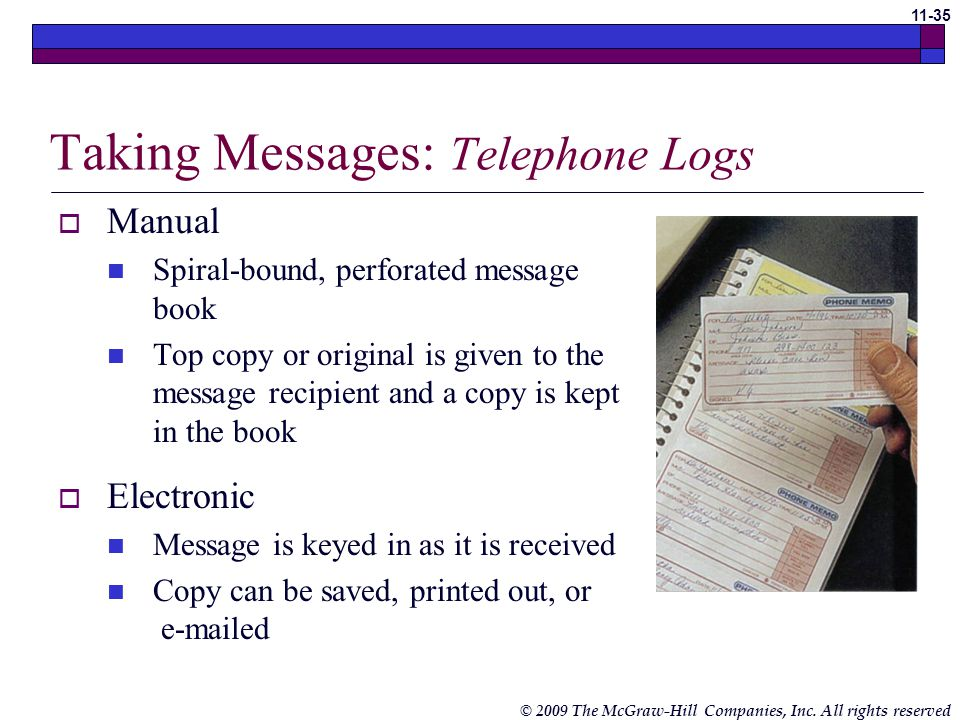Taking Messages: Telephone Logs