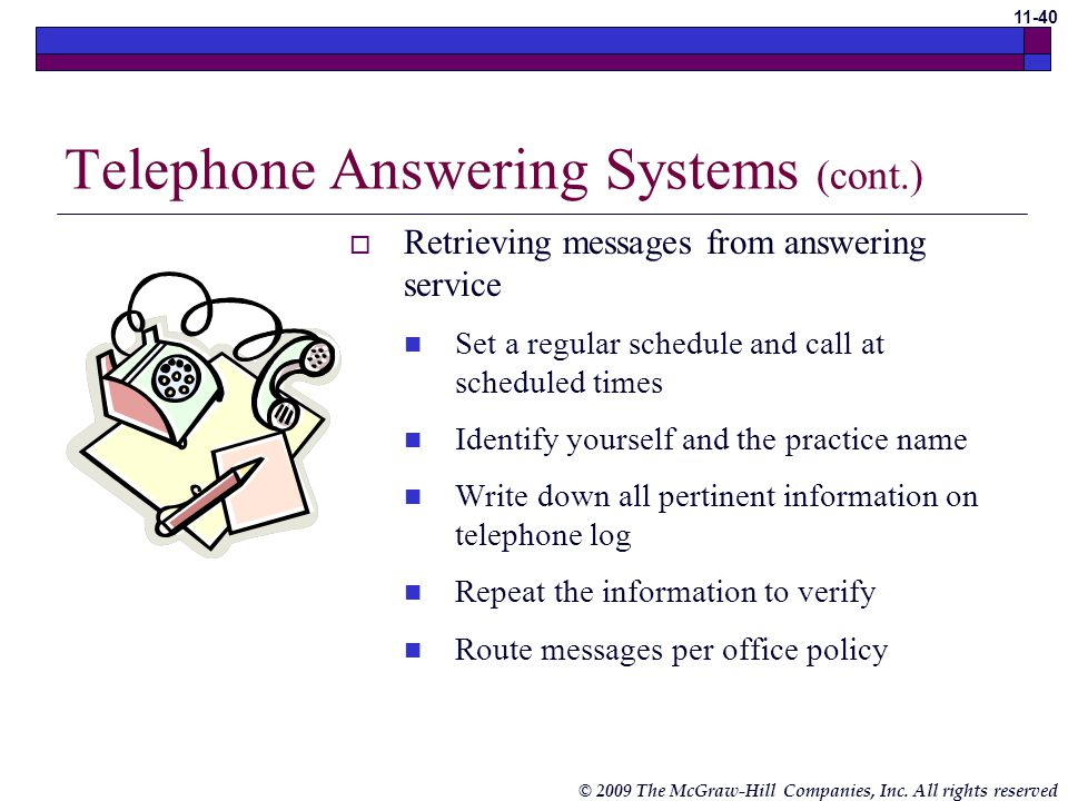 Telephone Answering Systems (cont.)