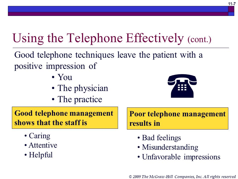 Using the Telephone Effectively (cont.)
