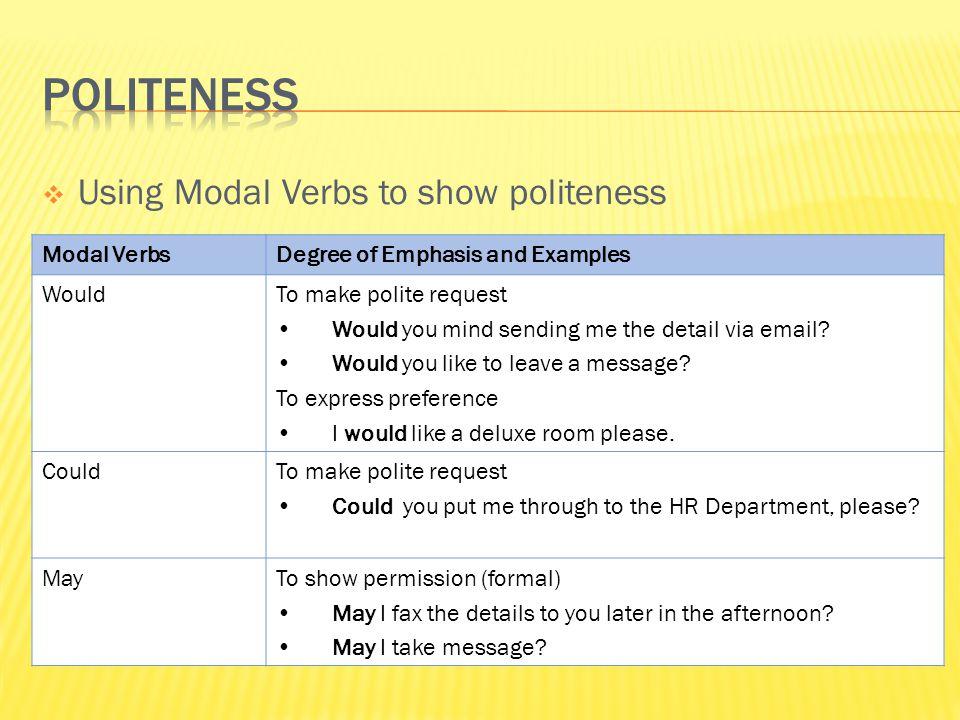POLITENESS Using Modal Verbs to show politeness Modal Verbs