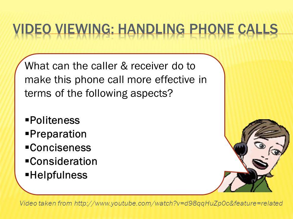 Video viewing: handling phone calls