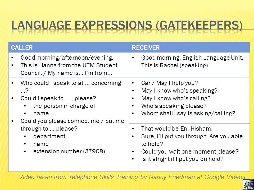 Language Expressions (Gatekeepers)