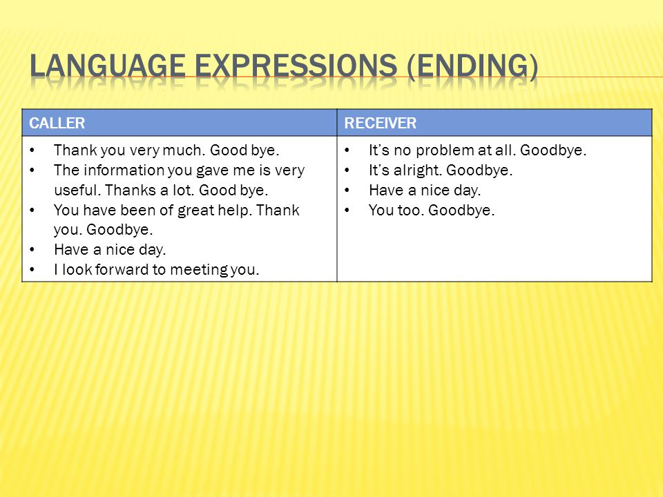 Language Expressions (ending)
