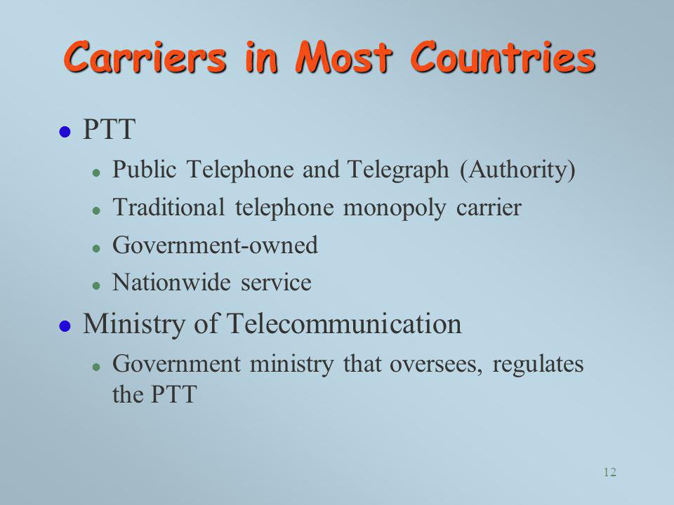 Carriers in Most Countries