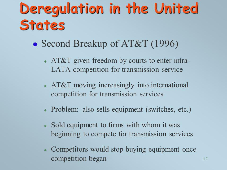 Deregulation in the United States