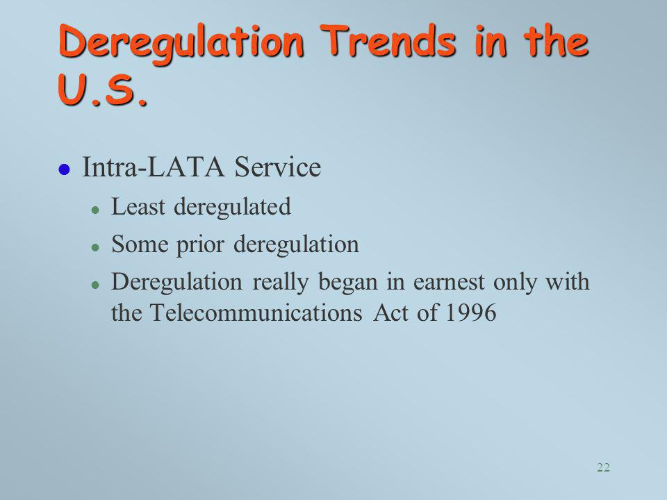 Deregulation Trends in the U.S.