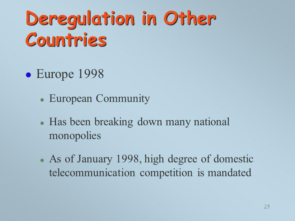 Deregulation in Other Countries