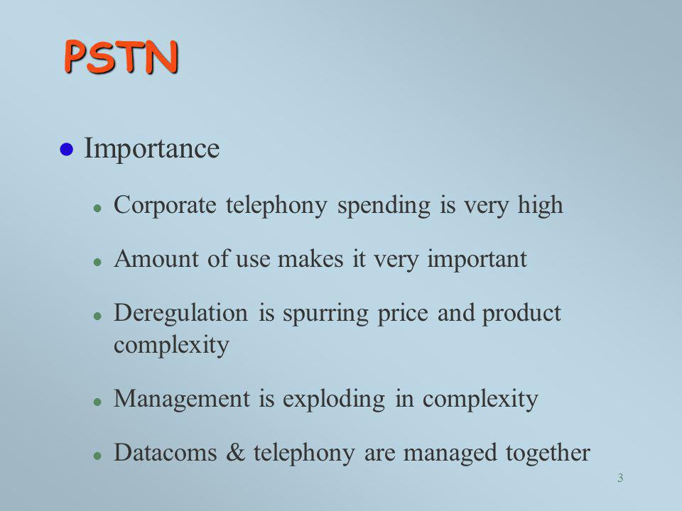 PSTN Importance Corporate telephony spending is very high