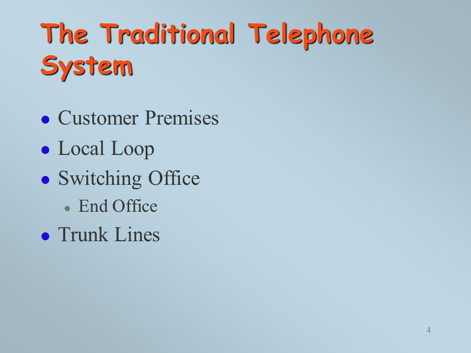 The Traditional Telephone System