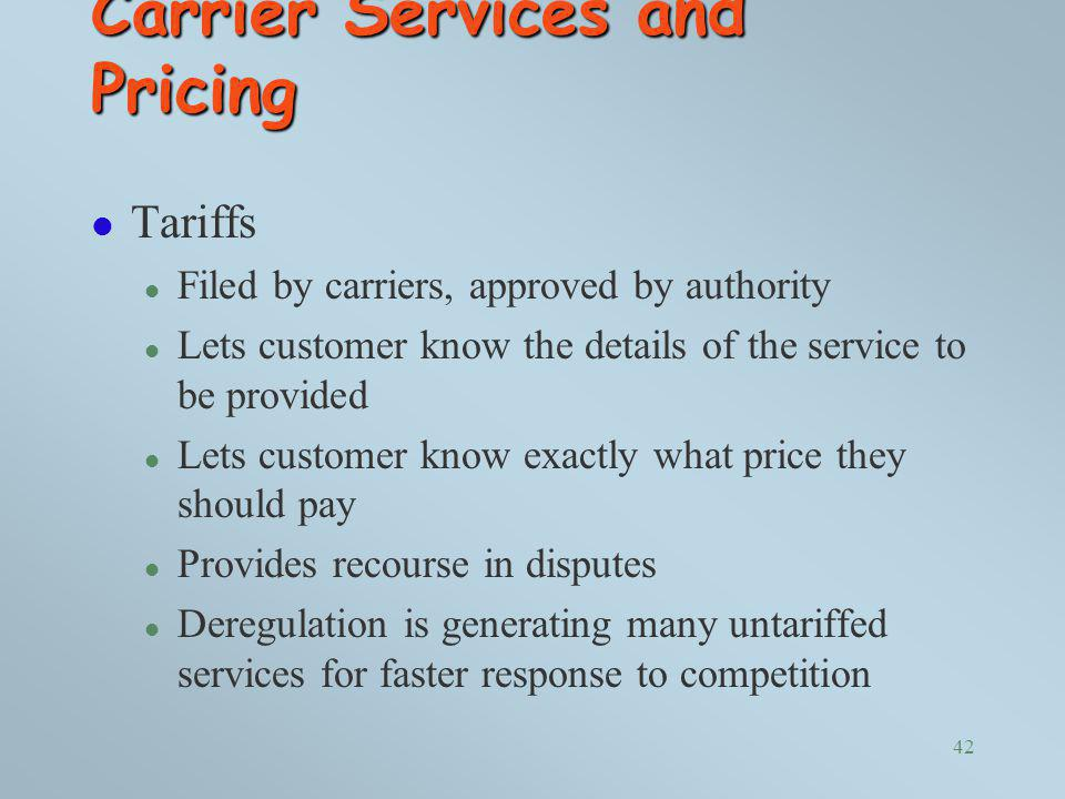 Carrier Services and Pricing