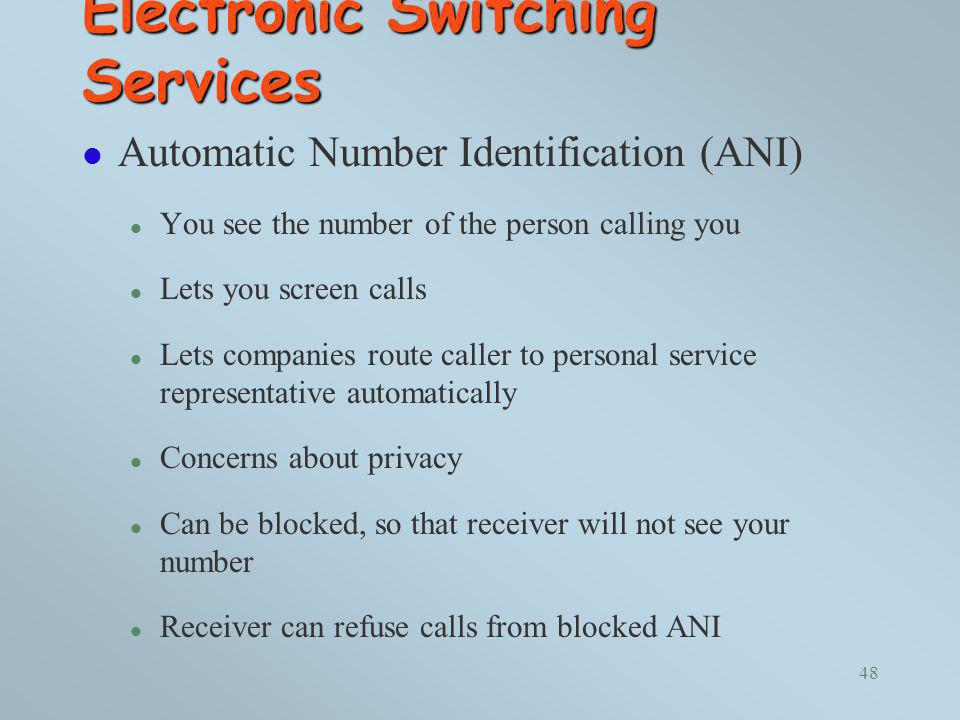 Electronic Switching Services