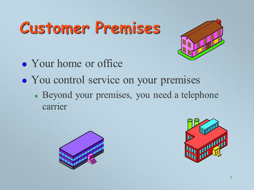 Customer Premises Your home or office