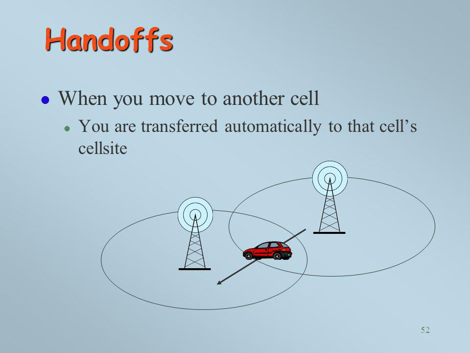 Handoffs When you move to another cell