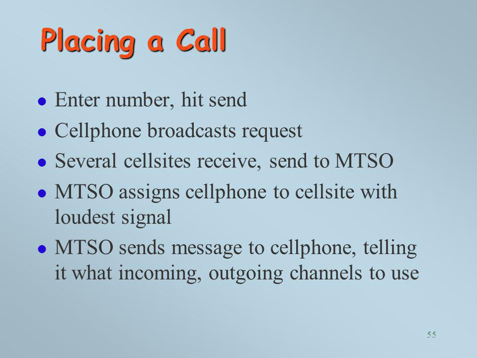 Placing a Call Enter number, hit send Cellphone broadcasts request