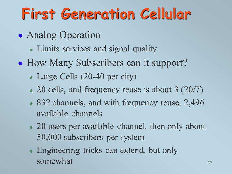 First Generation Cellular