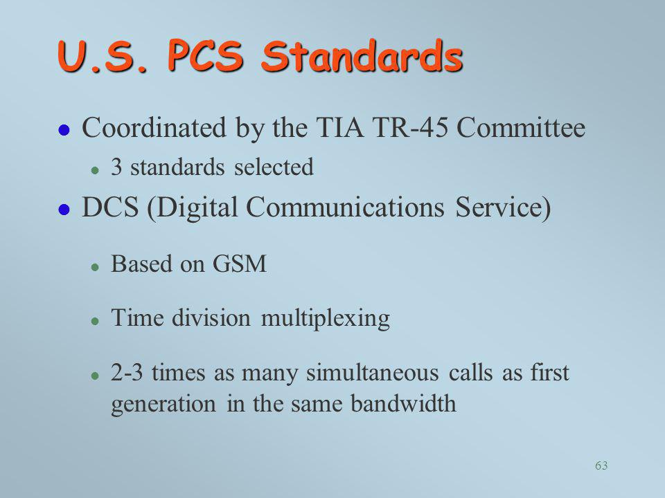 U.S. PCS Standards Coordinated by the TIA TR-45 Committee