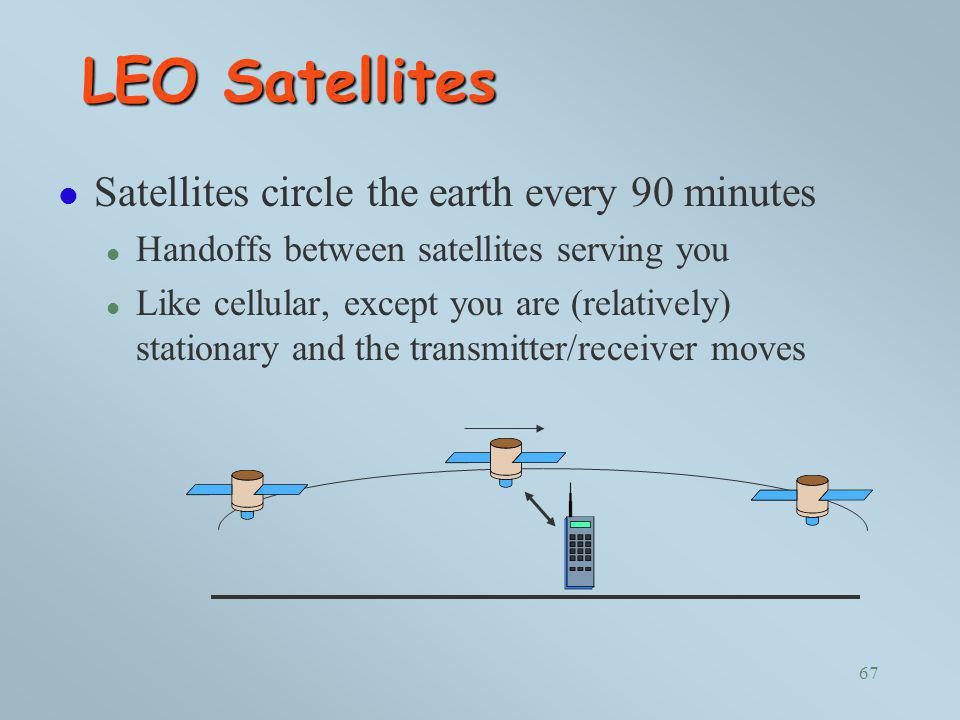 LEO Satellites Satellites circle the earth every 90 minutes