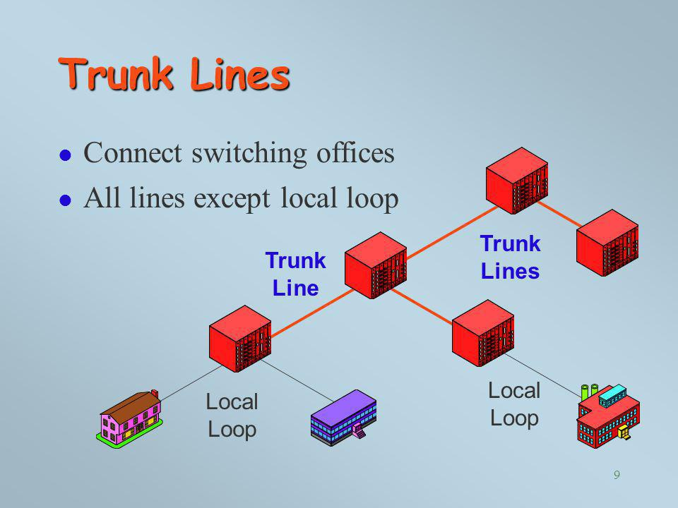 Trunk Lines Connect switching offices All lines except local loop