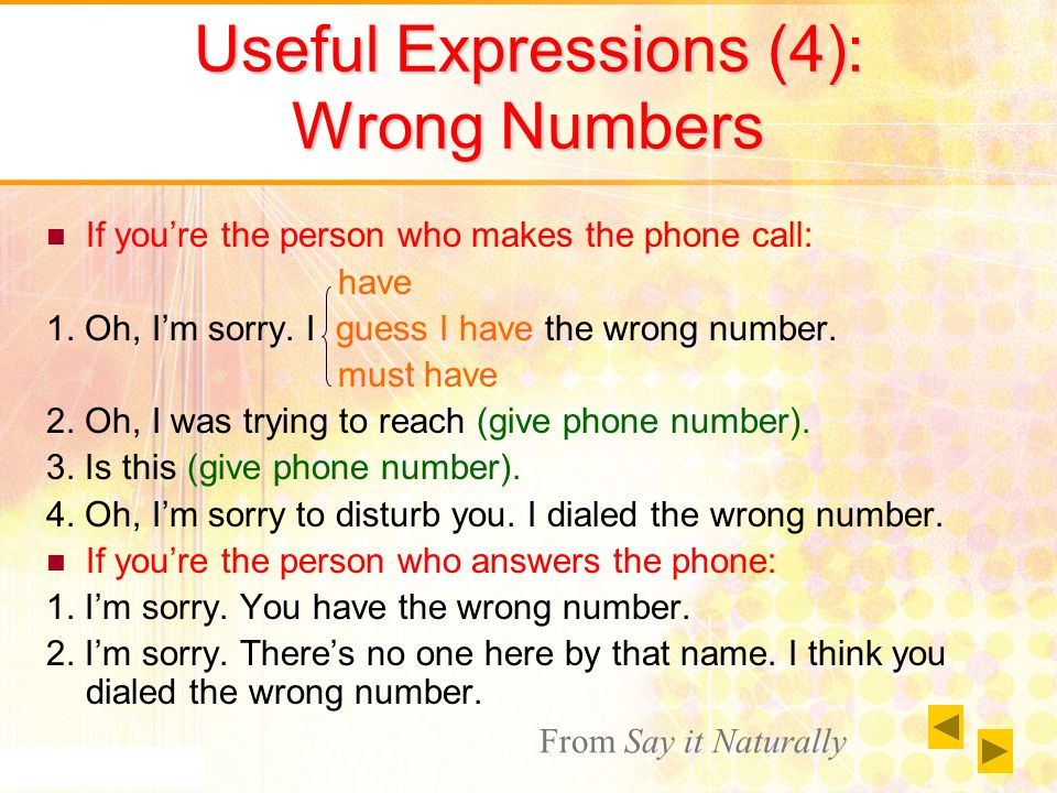 Useful Expressions (4): Wrong Numbers