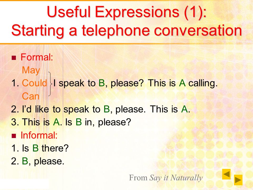 Useful Expressions (1): Starting a telephone conversation