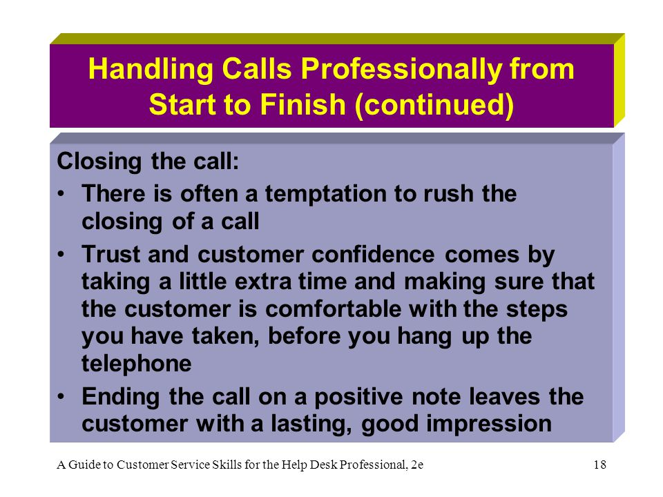 Handling Calls Professionally from Start to Finish (continued)