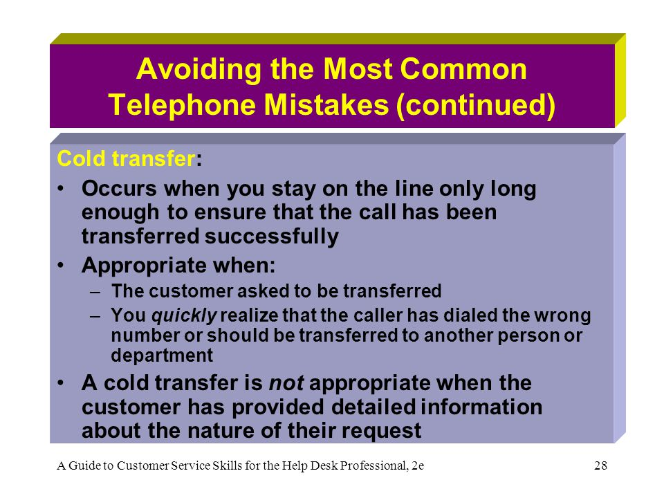 Avoiding the Most Common Telephone Mistakes (continued)