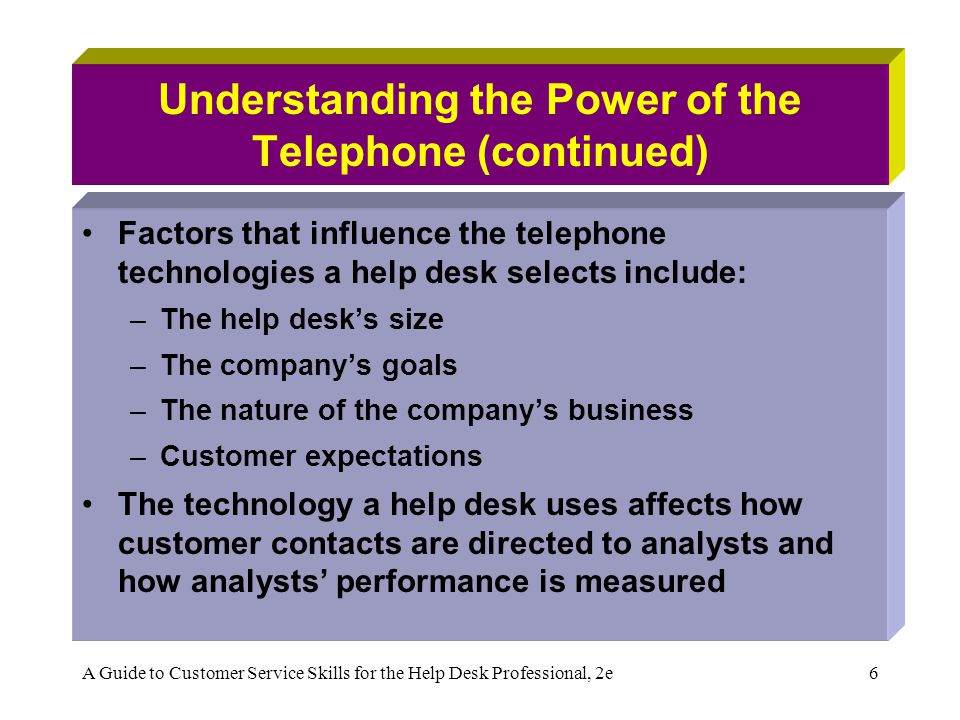 Understanding the Power of the Telephone (continued)