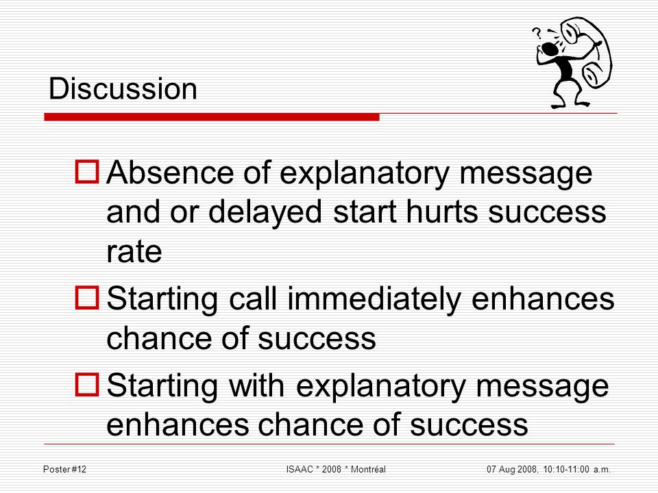 Absence of explanatory message and or delayed start hurts success rate