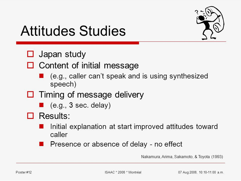 Attitudes Studies Japan study Content of initial message