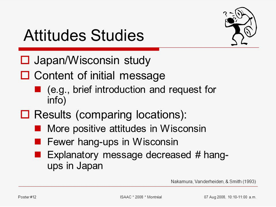 Attitudes Studies Japan/Wisconsin study Content of initial message