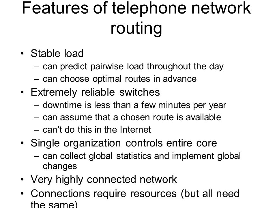 Features of telephone network routing